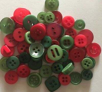 50 Red&Green, Christmas Small Mixed Resin Buttons - Sewing, Craft, Scrapbooking