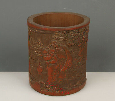 Chinese Exquisite Hand carved the ancients landscape Carving bamboo Brush Pot
