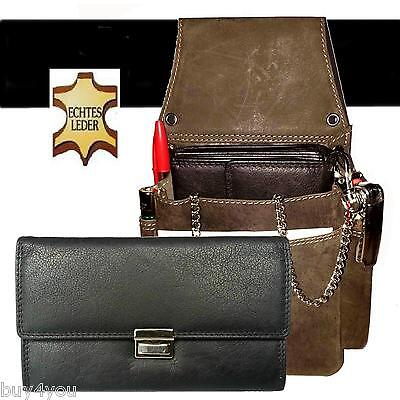 Real Leather Server Set 4 Pcs Wallet Server Case Holster Wallet Belt Bag
