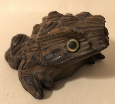 Best Vintage Japanese Carved Toad Bamboo Root Glass Eyes Great Detail Netsuke