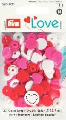 PRYM LOVE SNAPS PRESS FASTENERS - 12.4mm – 30SETS RED, PINK, WHITE HEARTS