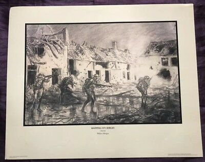 World War I US Army Art - Mopping Up Cierges by Wallace Morgan - WW1 Lithograph