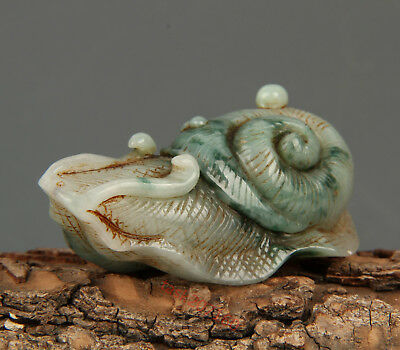 Chinese Exquisite Hand-carved snails Carving jadeite jade statue