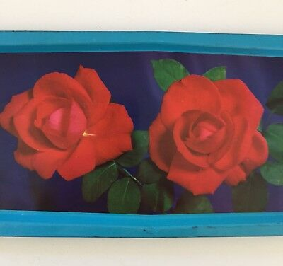Vintage retro rose print metal trays made in England