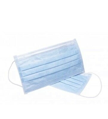 50 Flu Mask 3ply Surgical Earloop Dust Smog Face Salon Cleaning Medical