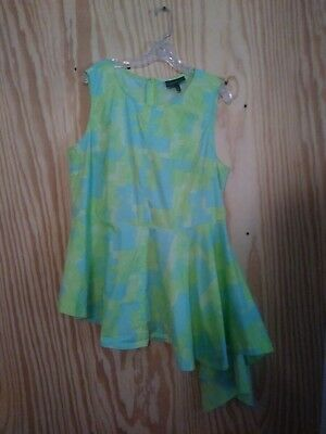LANE BRYANT Womens Plus Blue Green Asymetrical Tunic Size 18