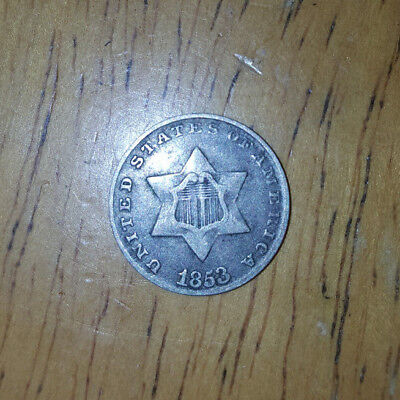 1853 Silver Three Cent Piece 3c Silver Trime Coin