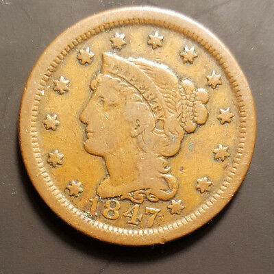 1847 Braided Hair Large Copper Cent Penny