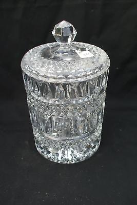 Cannister Pressed Glass Cookie Jar w/ Lid 4 mold Heavy Vintage Antique