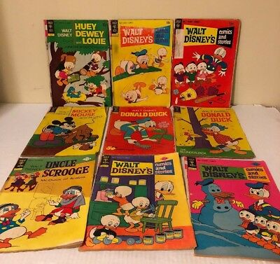 Collection of 9 Vintage Gold Key Donald Duck disney Comics silver age bronze