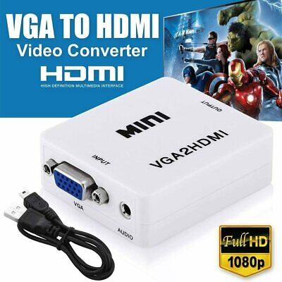 VGA to HDMI Female Full HD 1080P Video Converter Adapter Box For TV Laptop USA