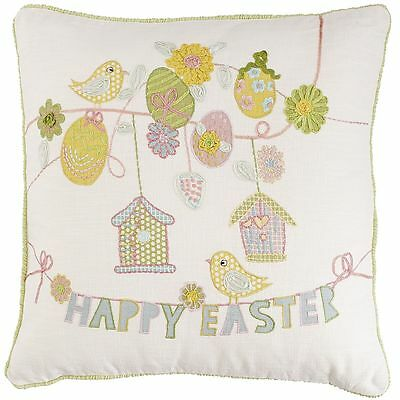 """Pier 1 Imports """"happy Easter"""" Appliqued & Embroidered Throw Pillow 18X18 Nwt"""