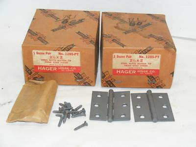 "23 - NOS Vtg Hager Hinge 2-1/2""x2""  1285-PT Butts Button Tim Prime Coat"