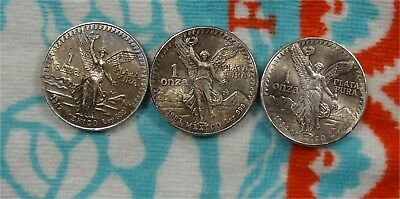 1982, 1983, 1984  Mexico Libertad 1 oz 999 Silver * Toned Roll Ender * Coins