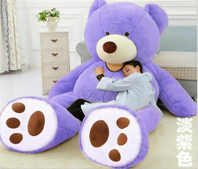 340CM Huge Giant Plush Teddy Bear Big Animal Soft Toy Gift (ONLY COVER) Purple