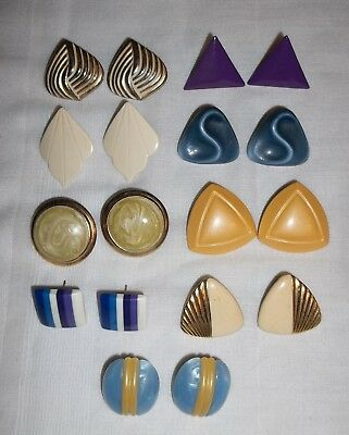 lot of 9 Pair of Vintage Colorful triangle, round, square, stud Earrings