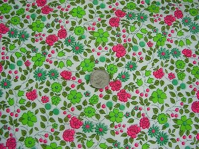Vtg 40s/50s Bright Pink/Green Tiny Floral Cotton Quilt/Craft Fabric - 34 x 1+ Yd