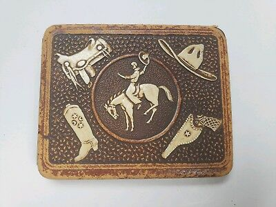 Vintage Western Cowboy Rodeo Cigarette Case Leather Metal