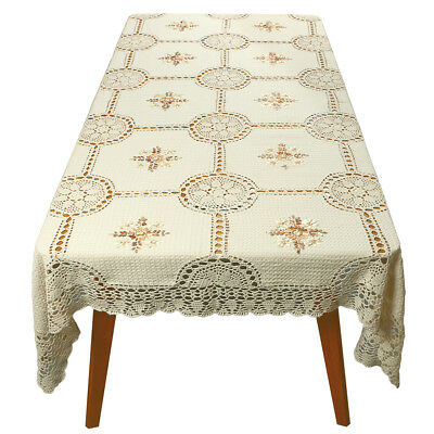 Rectangle Lace Tablecloth Cover Floral Tablecloth Vintage Embroidered Crochet