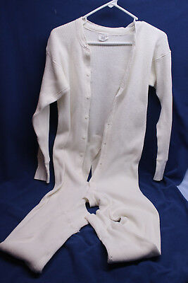 Vintage Mens Union Suit Thermal Long Underwear Button Front and back Trap XL