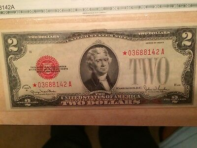 FR-1508 * 1928 G Series $2 Two Dollar Bill Red Seal US Legal Tender Note STAR