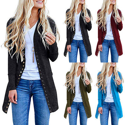 Womens Long Sleeve Slouchy Cardigan Open Front Draped Midi Sweater Jackets Magic