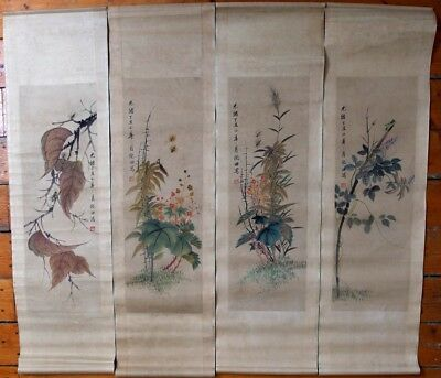 A Set of Four Antique Chinese Ink and Color Scroll Paintings