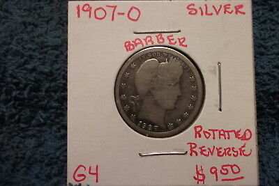 1907 New Orleans Barber Silver Quarter In Good Condition With A Rotated Reverse