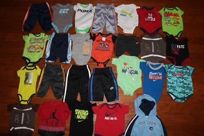 Lot 26 Baby Boy One Piece Outfits Pants Air Jordan Puma Nike 0-3 3 3-6 0-6 Month