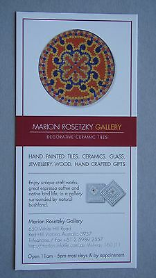 Marion Rosetzky Gallery Decorative Ceramic Tiles Red Hill Advert Brochure
