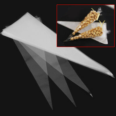 50Pcs Cone Shaped Crystal Clear Candy Christmas Party Gifts Cellophane CelloBags
