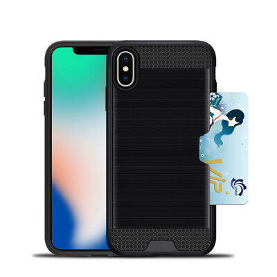 Black Drop Protection Tough Sliding Card Slots Case Cover For iPhone XS Max
