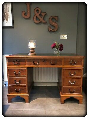 Yew Wood Pedestal Desk with Green Leather Insert
