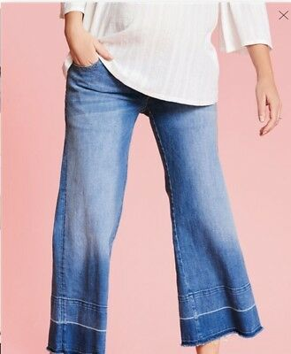 BNWT NEXT Maternity Blue Cropped Jeans Ankle Wide Leg Size 12 Cost £32