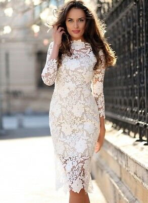 White Lace Chiffon Short Dress Cocktail Party Evening Formal Prom Gown Dress