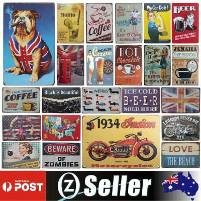 Vintage Metal Tin Signs Retro Wall Plaque Club Pub Bar Poster Decor 35 Patterns
