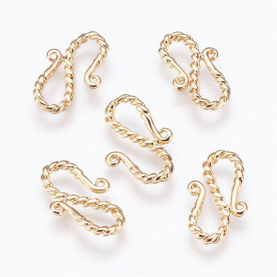 5 pcs Real Gold Plated Brass S-Hook Clasps Crafts Jewellery Findings 19x11.5x2mm