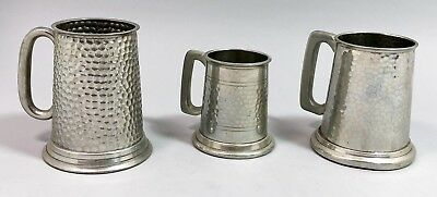 Art Deco set 3 hand-hammered tapered pewter tankards beer mug glass bottom retro