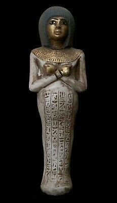 Rare EGYPTIANT ANTIQUES STATUE EGYPT Ushabti SHABTI Golden Face Stone 2100 BC