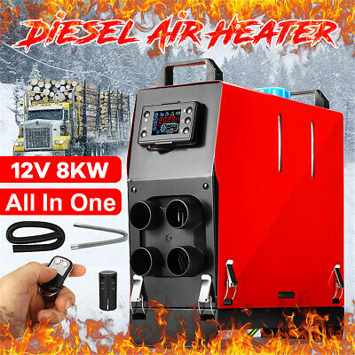 Diesel Air Heater 12V 5KW 4 Hole All In One LCD Thermostat F/ Trailer Truck Boat