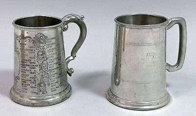 2 vintage pewter 1 pint beer tankards jugs English Kings portraits reign dates
