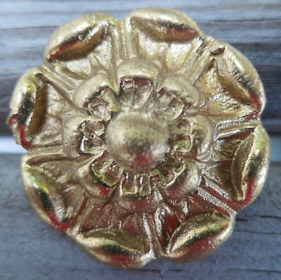 14 Vintage Cast Brass Rosettes with Nails from Retired Dealer, Never Used