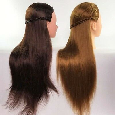 "70% Real Human Hair 22"" Salon Training Head Hairdressing Styling Mannequin Doll"