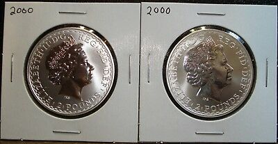 """Two 2000 Britannia £2 1 Ounce Silver Proof Coins in Larger 2.5"""" by 2.5"""" Holders"""