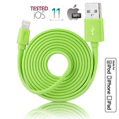 MFI Lightning 8pin Flat Noodle Sync Charge USB Cable Cord for iPhone 7/8 Plus/X