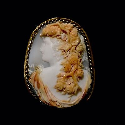 Rare Victorian Carved Antique Ornate Goddess Flora Shell Cameo Brooch Beautiful