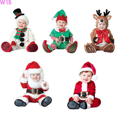 UK Christmas Toddler Baby Santa Claus Romper Bodysuit Jumpsuit Clothes Costume