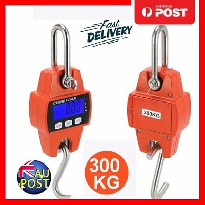 Portable Crane Scale 300kg 0.1kg Heavy Duty Electronic Hook Hanging Scale AU DFG