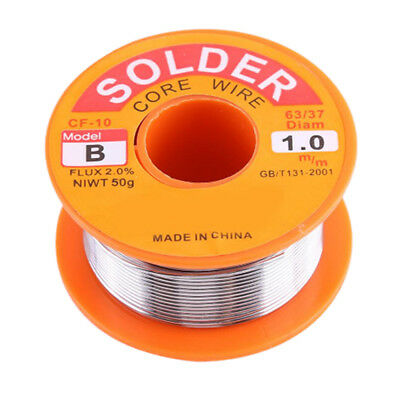 50g 0.8mm 63/37 Tin lead Solder Wire Rosin Core Soldering 2% Flux Reel Tube GS