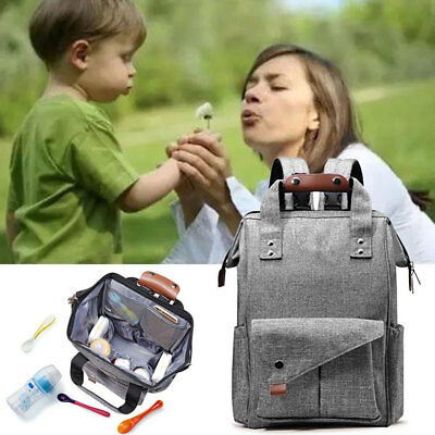 1X Multi-use Large Mummy Baby Diaper Nappy Gray Backpack Mom Changing Travel Bag